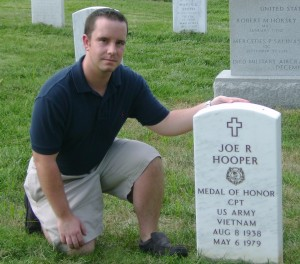 nterns and students are given the opportunity to meet and learn about America's greatest heroes. Here, former intern Michael O'Donnell visits the grave of Joe Ronnie Hooper, the most decorated soldier of the Vietnam War.  Michael researched Hooper's story, which he wrote for our publication Valor: the Veterans of Vietnam.