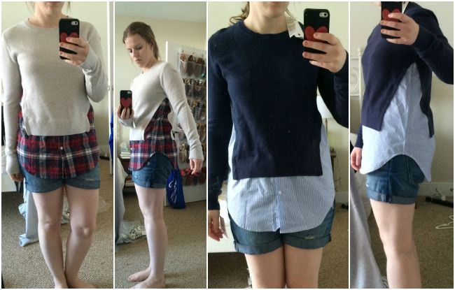 treasure & bond layered shirttail, plaid shirt, waffle knit, plaid, nordstrom, nordstrom anniversary sale