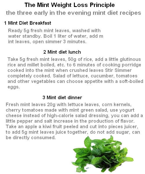 fresh mint and weight loss