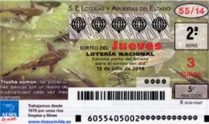Lotería Nacional del jueves 10 de julio de 2014, sorteo 55.