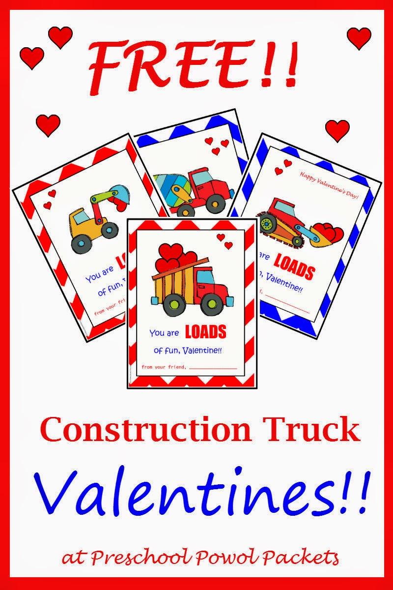 free printable construction truck valentines preschool powol