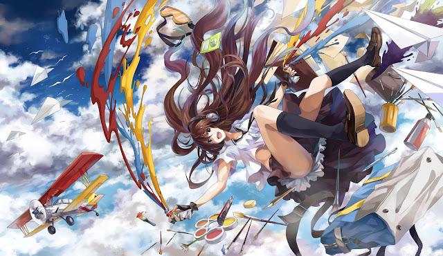 Smiling cute girl sky airplane clouds beautiful long hair headset paint school uniform hd wallpaper desktop pc wallpaper a57