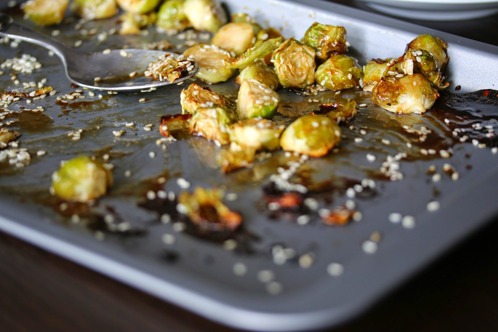 Sweet and Sour Spicy Sesame Brussels Sprouts