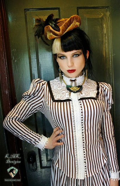 steampunk victorian skirt blouse fascinator hat