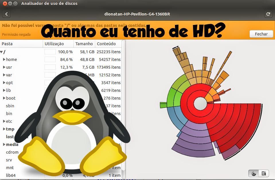 Como saber quanto eu tenho de HD no Ubuntu?