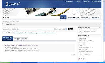 Resultado de la búsqueda en la web del Ayuntamiento de Madrid