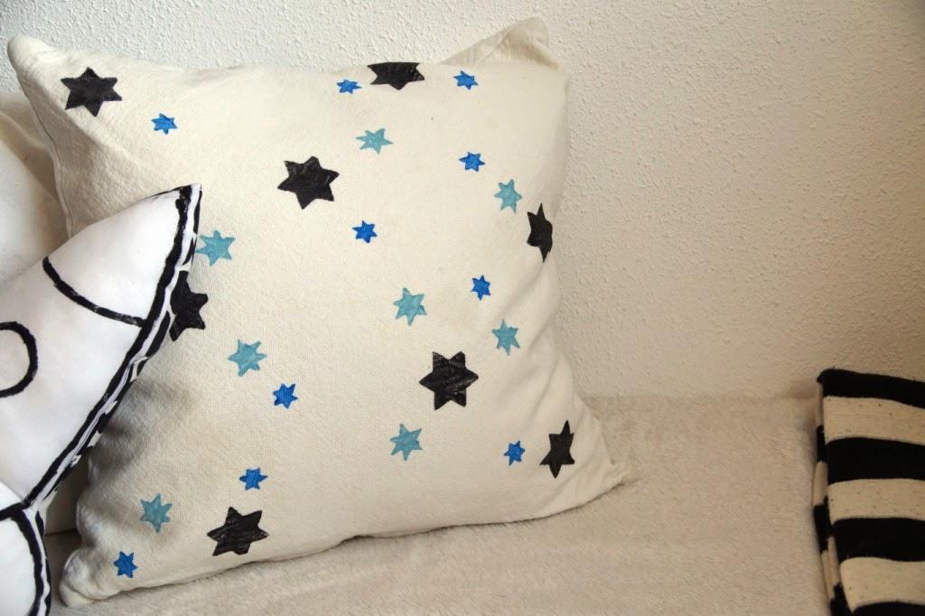 diy stamps for fabric decoration - huisje boompje boefjes