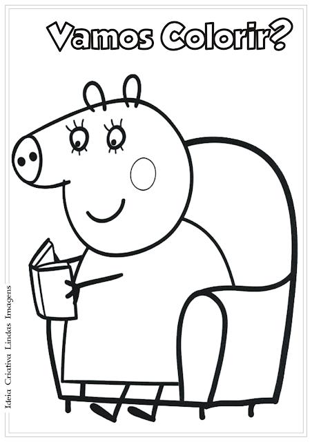 Peppa Pig Mãe desenho para colorir