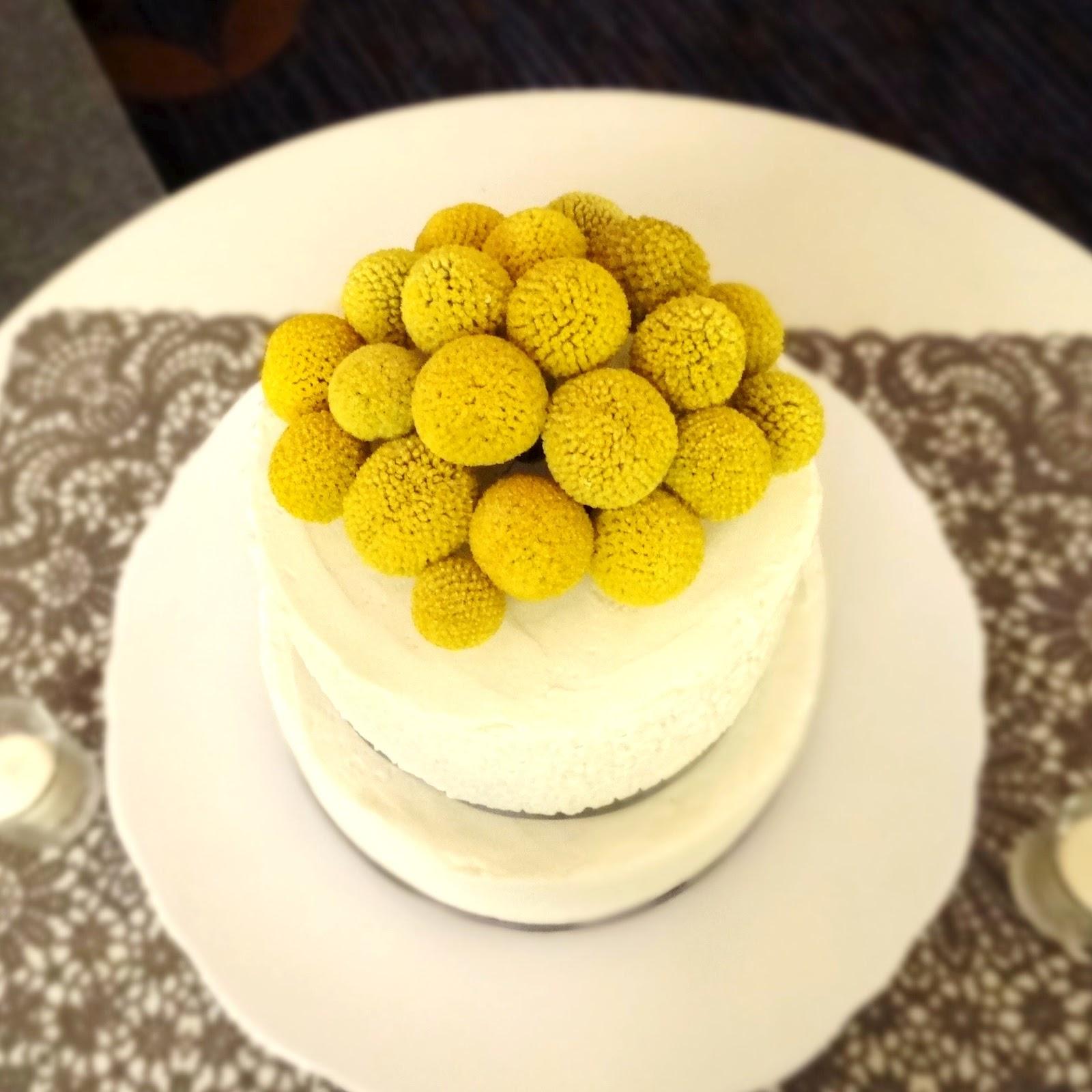 Libby\'s Cupcakes Etc: Gray + Yellow Wedding Cake + Cupcakes