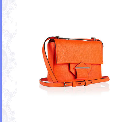Grace Intemporelle: Reed Krakoff, orange standard mini textured-leather shoulder bag