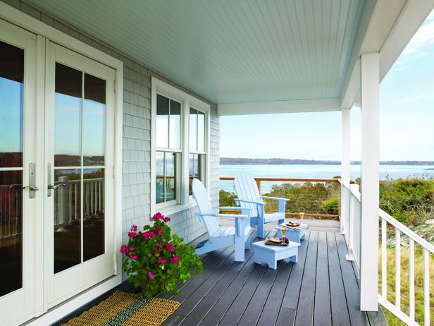 This coastal front porch doesn't need much more than a few lounge chairs and an amazing view