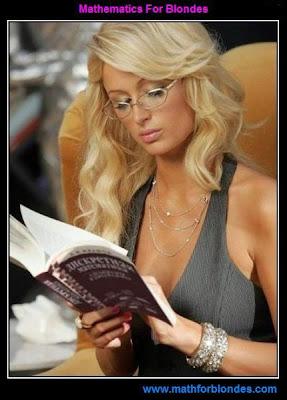 Math blonde. A Paris Hilton on a picture reads a book Discrete Mathematics. Mathematics For Blondes.