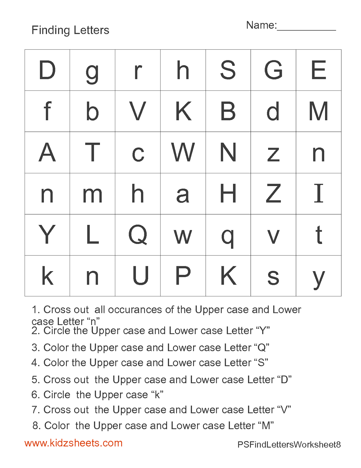 kidz worksheets preschool find letters worksheet8