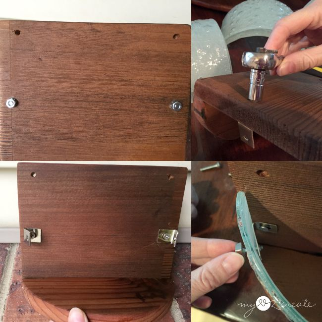 attaching light fixture glass to wood planter