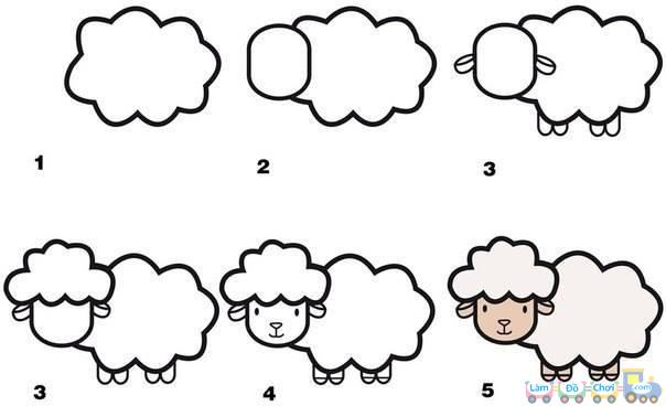 Vẽ hình con cừu đơn giản