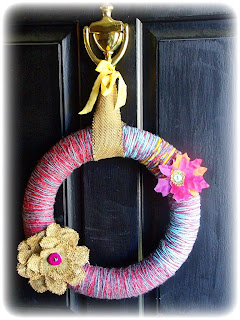 yarn wreath with burlap flower no glue needed new end studio