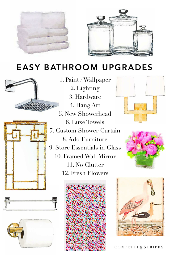 Confetti and stripes easy bathroom upgrades without for Bathroom upgrades