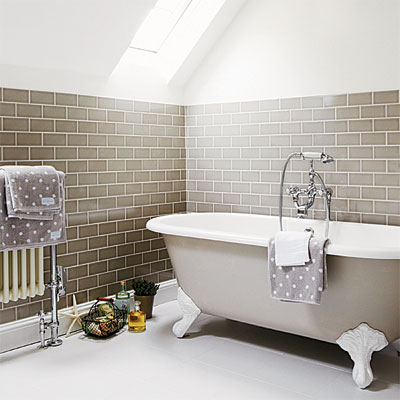 A light and bright bathroom by CG S Design Build  houzz com   The slopped  ceiling was Incorporated in the shower design  A skylight adds natural light  that. Attic Works  Attic bathrooms