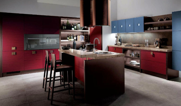 Kitchens  The Blog Red and Blue Modular Kitchens by Scacolini