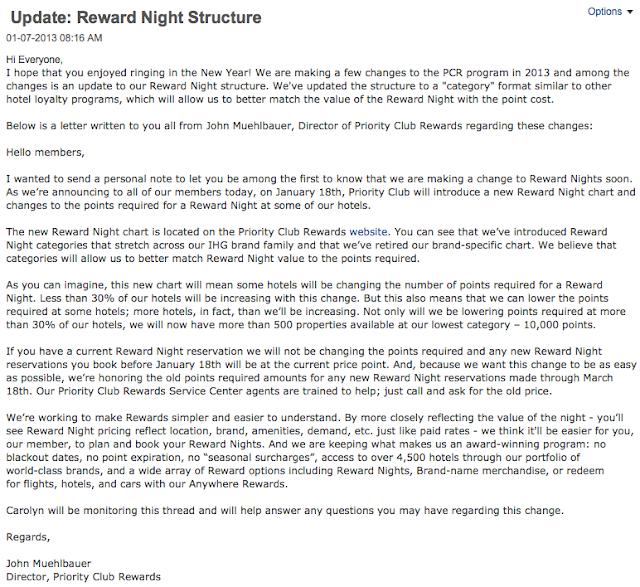 Rewards Canada IHG Priority Club Reward Night Changes