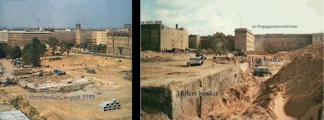 A Führerbunker (magyarul a Vezér bunkere, Vezérbunker) egy föld alatti helyiség, eredetileg légoltalmi pince volt az Új Birodalmi Kancellária alatt Berlinben a második világháború idején. Itt töltötte élete utolsó pár hónapját a Harmadik Birodalom egykori diktátora, Adolf Hitler, majd itt is lett öngyilkos több más nemzetiszocialista vezetővel együtt. Ma a bunker helyén egy lakótelep parkolója, valamint étterem és szupermarket áll.  Tartalomjegyzék      1 Jellemzői, kialakítása     2 Története         2.1 A második világháborúban         2.2 Az utolsó napok         2.3 A háború után     3 2000 után     4 Galéria     5 Filmekben     6 Irodalom     7 Források     8 Külső hivatkozások  Jellemzői, kialakítása  A Führerbunker 5 méterrel a föld alatt volt található a Birodalmi Kancellária alatt, az egykori kormányzati igazgatási központ, a Wilhelmstraße 77. volt a pontos címe. Az 5 méterből 4 méter vastag vasbeton fal védte a bunkerban tartózkodó személyeket, amelyre 1 méteres földtakaró került. Így az akkori legnehezebb, legpusztítóbb hatású légibombáktól is megvédte a lent lakókat. Teljesen önellátó volt, egy dízelüzemű generátorral rendelkezett az elektromos áram termelésére, illetve saját levegőztető- és tisztító berendezés zárta ki a külvilág esetleges mérges gázait. Emiatt igen magas volt a zajszint bunkerban. Ezen kívül több beépített szivattyút is folyamatosan üzemeltettek, lévén az óvóhely alja alacsonyabban feküdt a Berlinben szokásos talajvíz szintjétől.  A berendezés Hitler külön kérésére spártai volt, a filmekben megfigyelt tágas szobák, nagy létszámú személyzet valójában csak illúzió, a szobák szűkek voltak (a Führer dolgozószobája 12 m² volt), kevés embernek nyújtottak biztonságot. Az ajtók tömör acélból készültek, nagy figyelmet fordítottak a biztonságra. Az érkezőknek a fegyverüket a ruhatárban kellett leadni, az épületben csak Rochus Misch rádiósnak és magának Adolf Hitlernek volt joga fegyvert viselni. Története A második világháborúban  A kivitelezés k