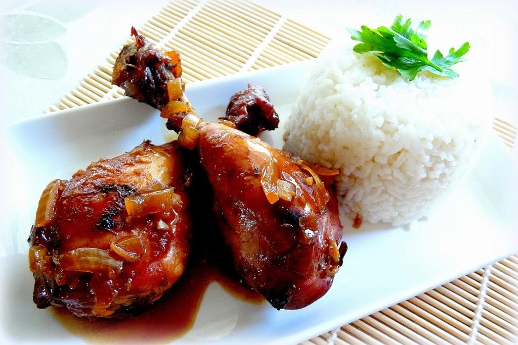 Kurczak w glazurze miodowo-sojowej z ryżem