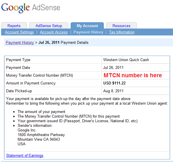 AdSense Earning Through Western Union MTCN Number