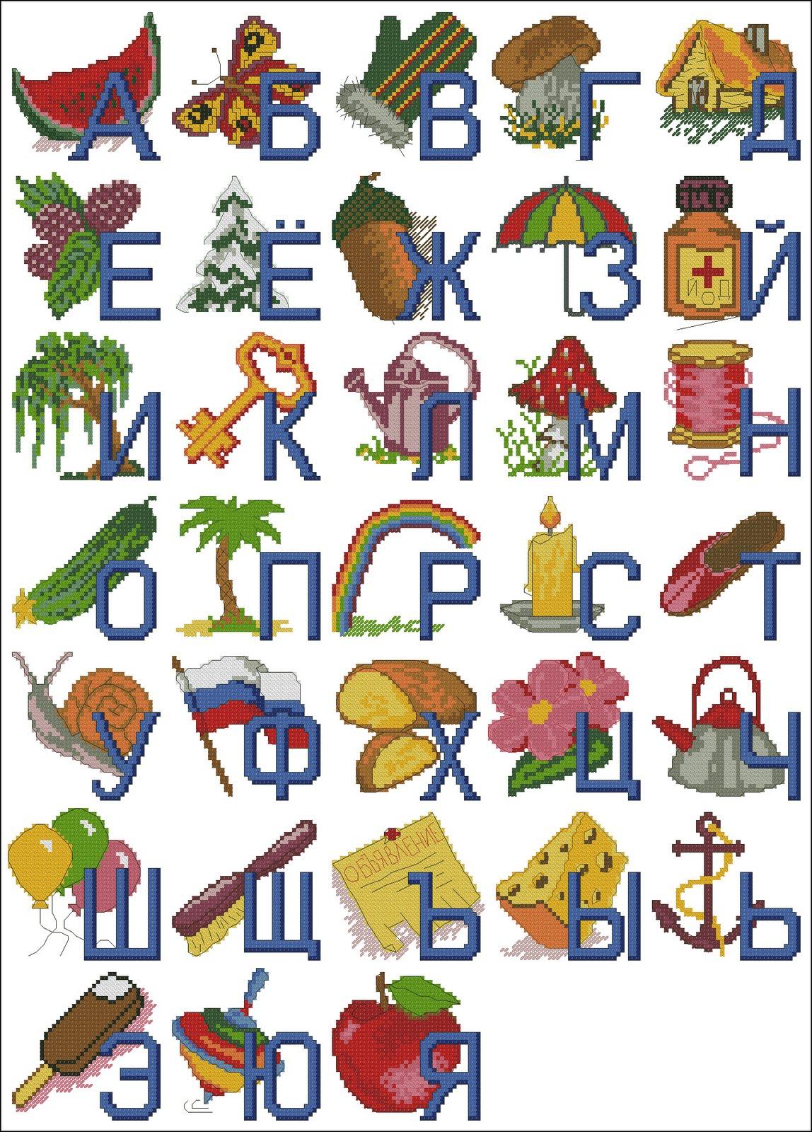 Cхема вышивки крестом Алфавит с картинками.