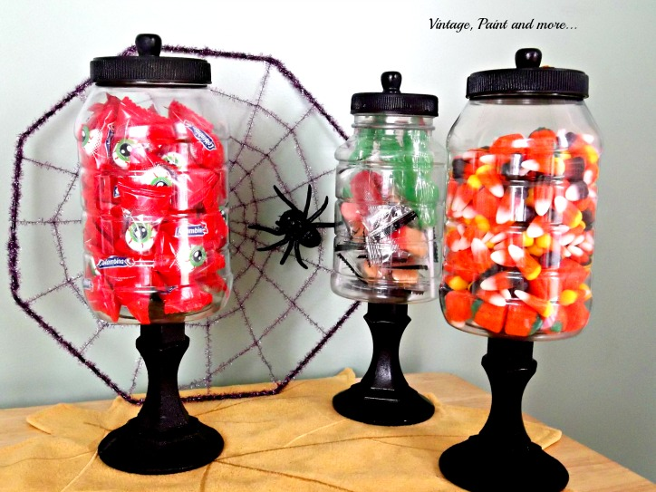Vintage, Paint and more... candy jars made from recycled jars and dollar store candle sticks