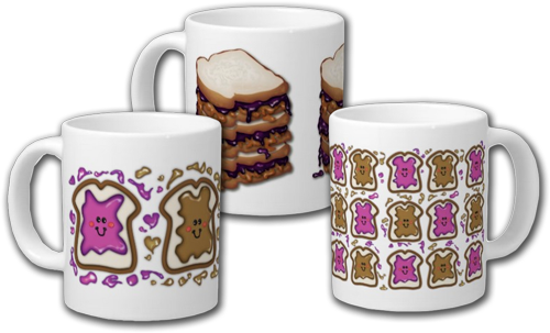 PBJ Sandwich or Peanut Butter and Jelly Sandwich Extra Large Mug