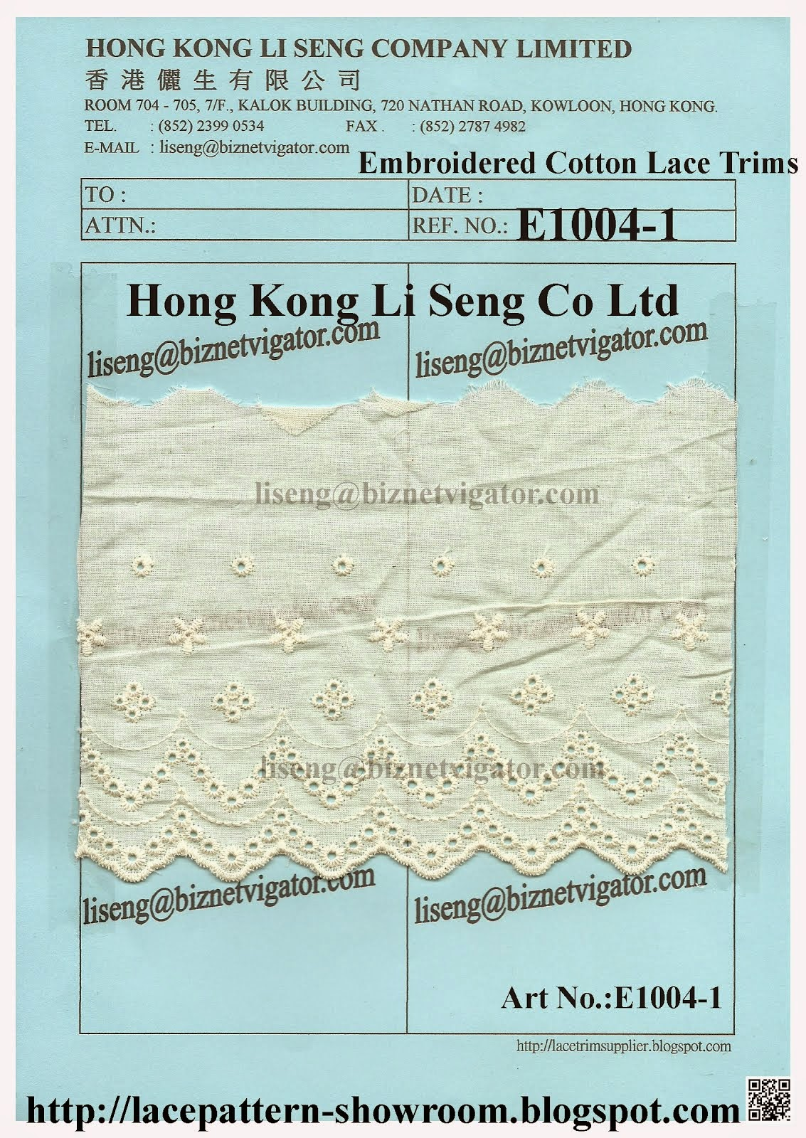 Simple Embroidered Cotton Lace Trims Pattern - Hong Kong Li Seng Co Ltd