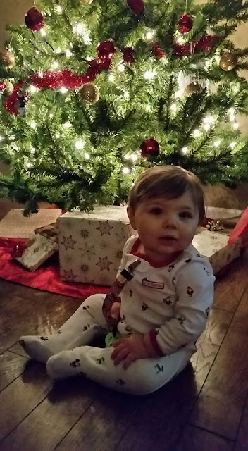 baby's first christmas, baby boy, christmas pajamas, christmas tree