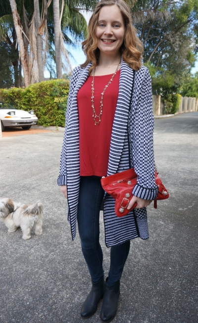 SAHM outfit to date night outfit skinny jeans boots wool stripe cardigan