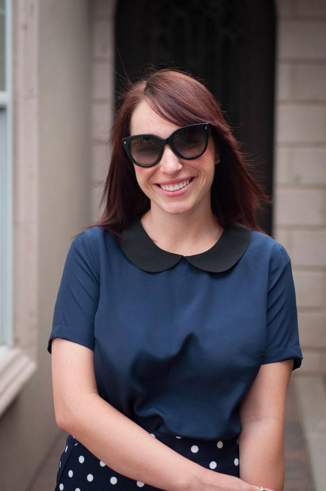 target style, target blouse, peter pan collar, polka dot pencil skirt, fashion blog, style blog, ootd, prada cats eye sunglasses