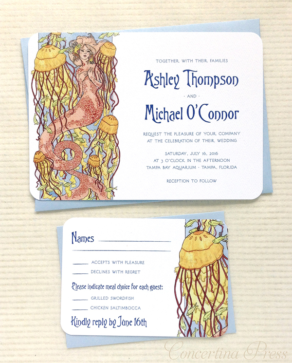 Mermaid Wedding invitation by Concertina Press with original mermaid illustration by Sarah Ryan
