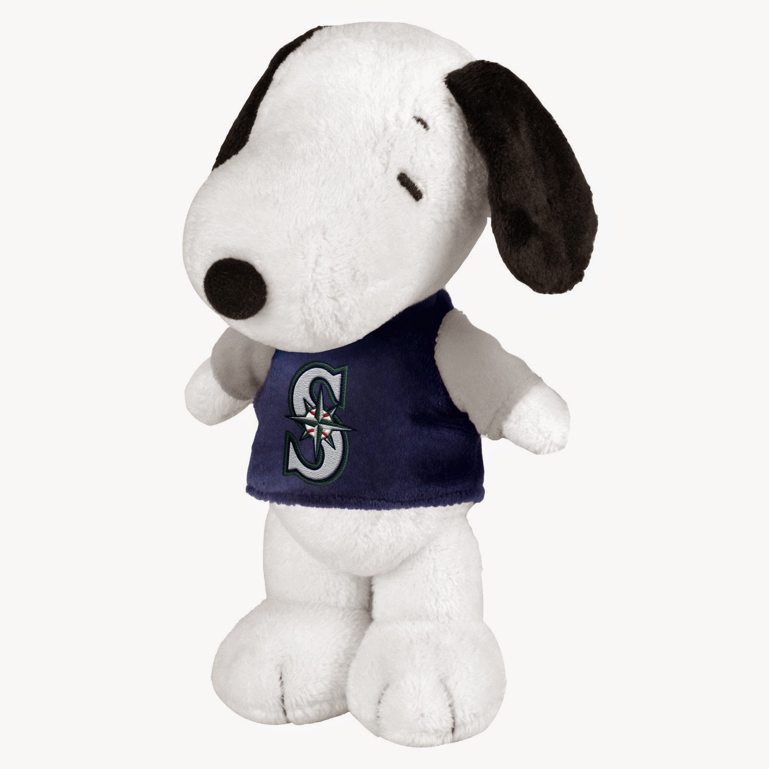 Plush Snoopy in Seattle Mariners shirt