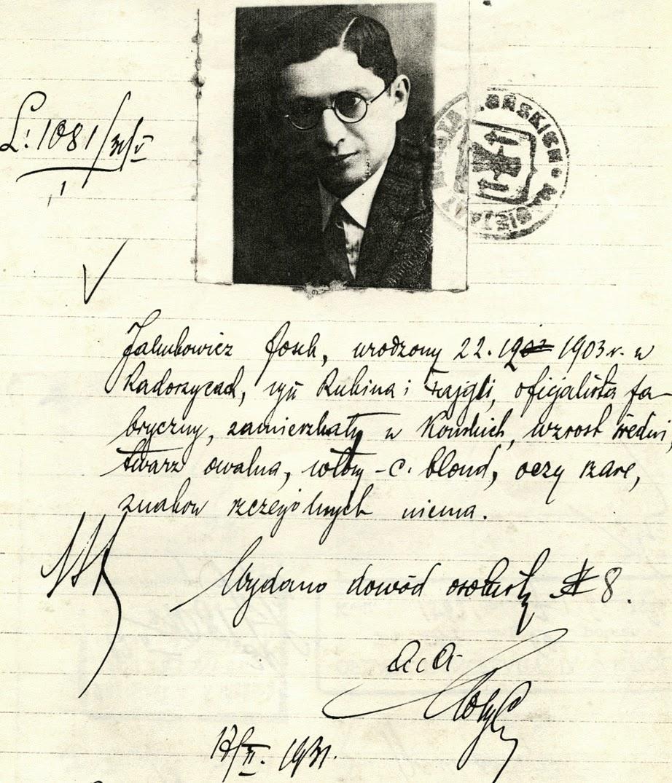 Josek Jakubowicz, syn Rubina i Fajgli, zamieszkały w Końskich ul. Staromłyńska [być może krewny Jakubowiczów zamieszkałych w Rogowie. Kopia podania z 1931 r. w zbiorach KW.