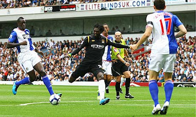 Adebayor scored against Blackburn with his right leg
