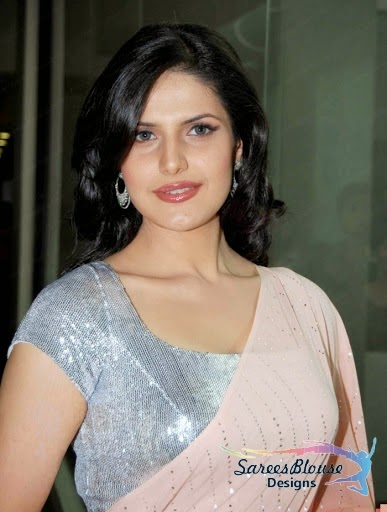 Zarine Khan in a Silver shining Blouse with Designer Chamki Saree