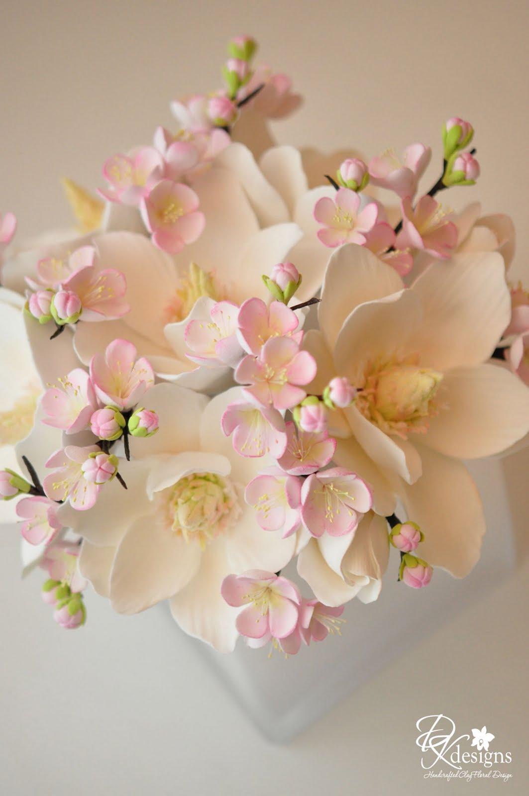 Custom Floral Arrangement = Magnolias and Plum Blossoms - DK Designs