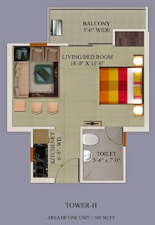 Up Country, Yamuna Expressway :: Floor Plans:-Studio Flat Area: 500 sq ft