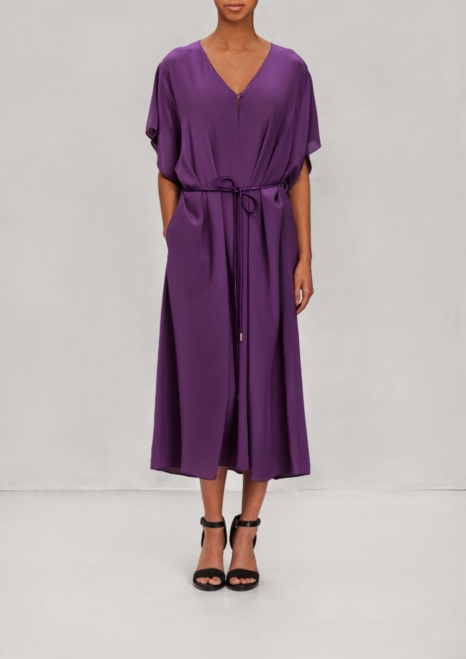 purple silk dress