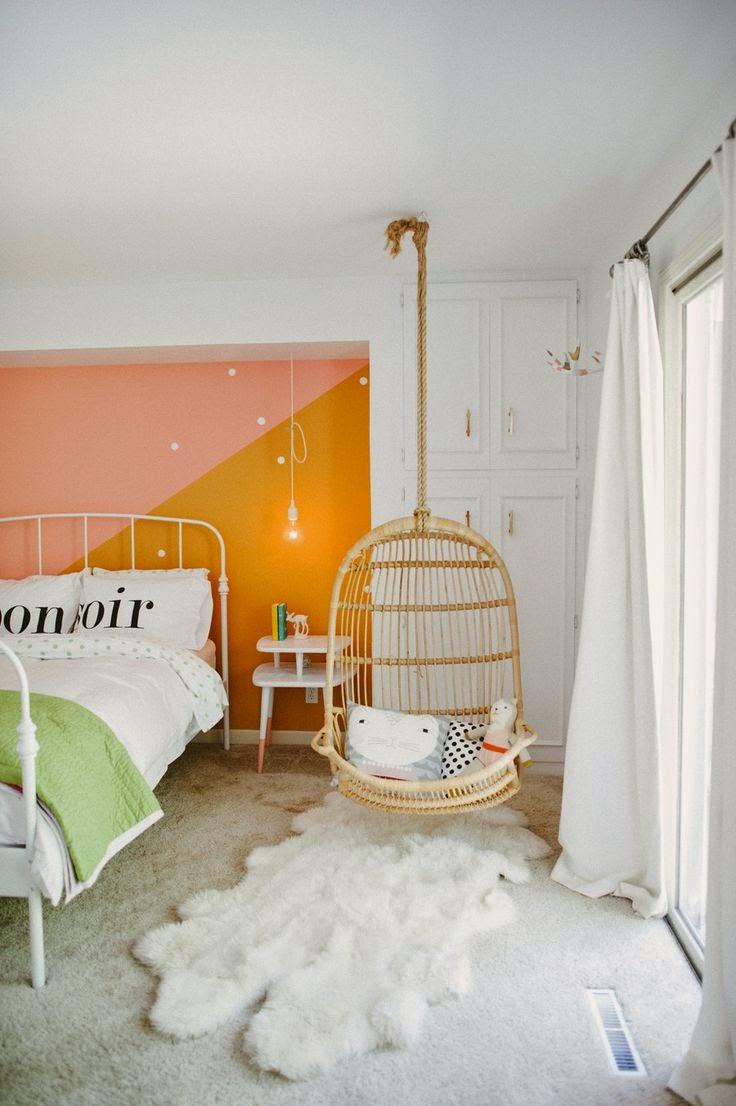 cat warna rumah dalam nuansa jingga yang selesa gambar