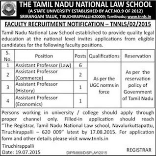 Tamil Nadu National Law School Trichy Assistant Professor Recruitments July 2015