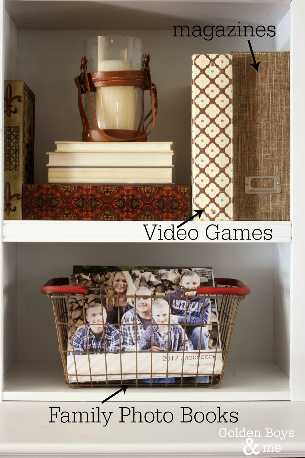 Family room storage solutions in a wall unit and baskets-www.goldenboysandme.com