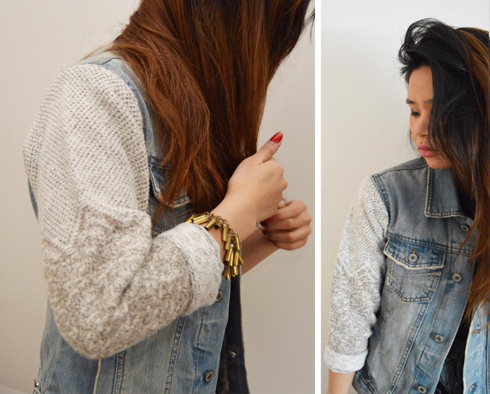 DIY: Sweater Sleeve Denim Jacket - Wild Amor