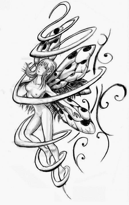 Swirly fairy tattoo stencil