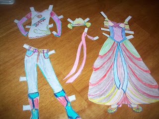 Isabel's colorful riding clothes and Princess Katie's ballgown
