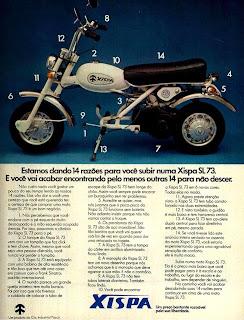 propaganda moto Xispa - 4R  - 1973. 1973. brazilian advertising cars in the 70. os anos 70. história da década de 70; Brazil in the 70s. propaganda carros anos 70. Oswaldo Hernandez;