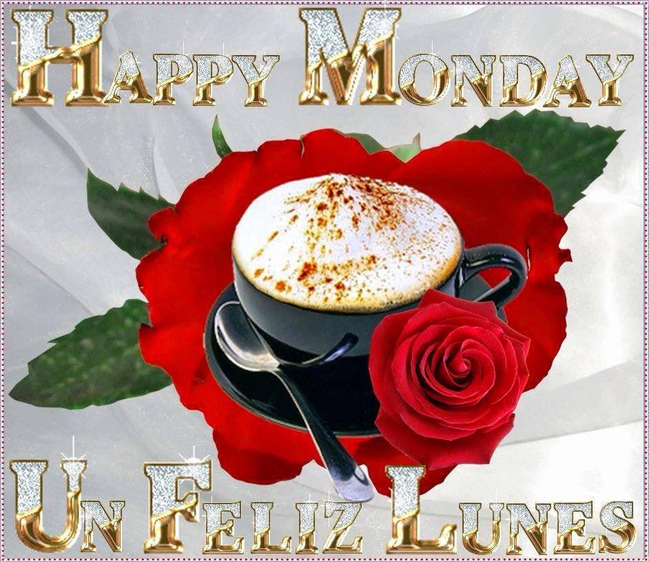 feliz lunes con rosas y cafe